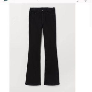 H&M black mini flare jean size 6
